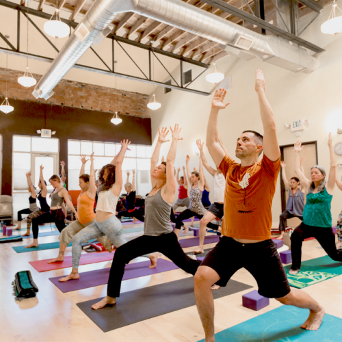image of a Bhava yoga class in session
