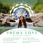 flyer for the event Awaken to Divine Love. The image contains a female meditating in front of a body of water.